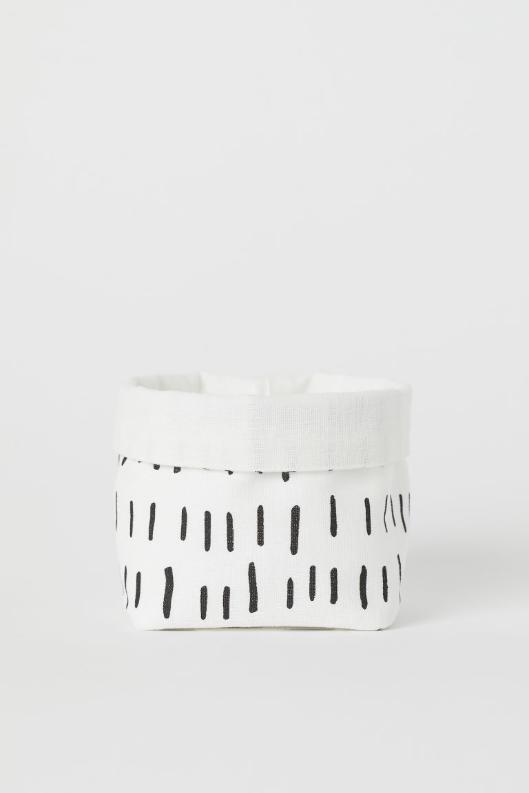 Small canvas storage basket - White/Black patterned - Home All | H&M CN