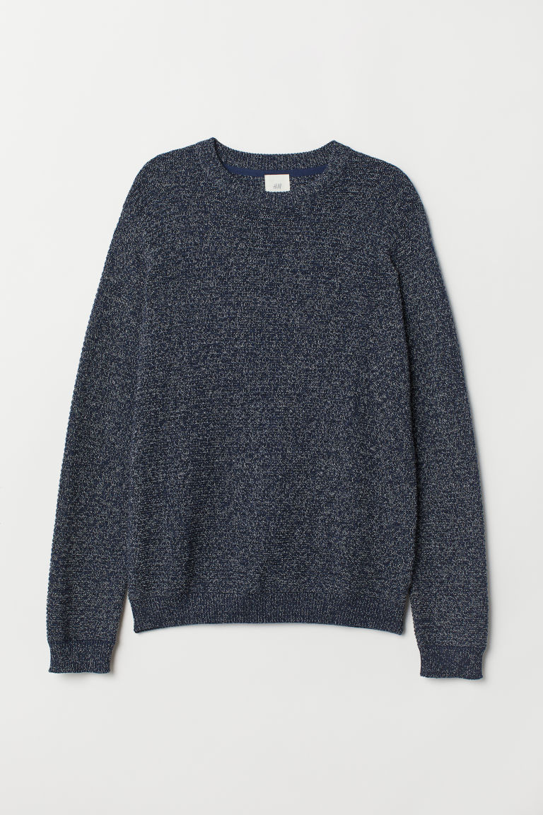Textured-knit cotton jumper - Dark blue marl - Men | H&M CN