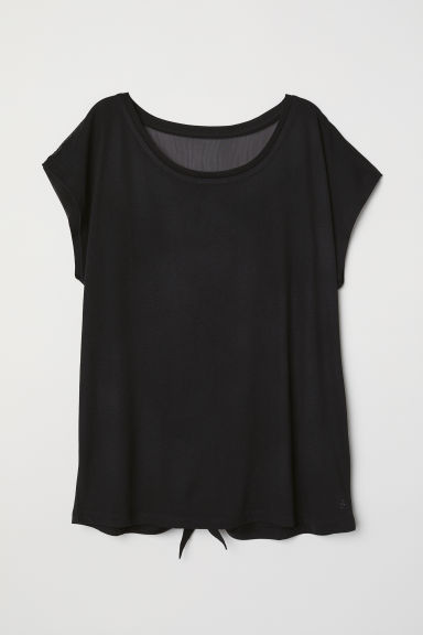 Wide yoga top - Black - Ladies | H&M CN
