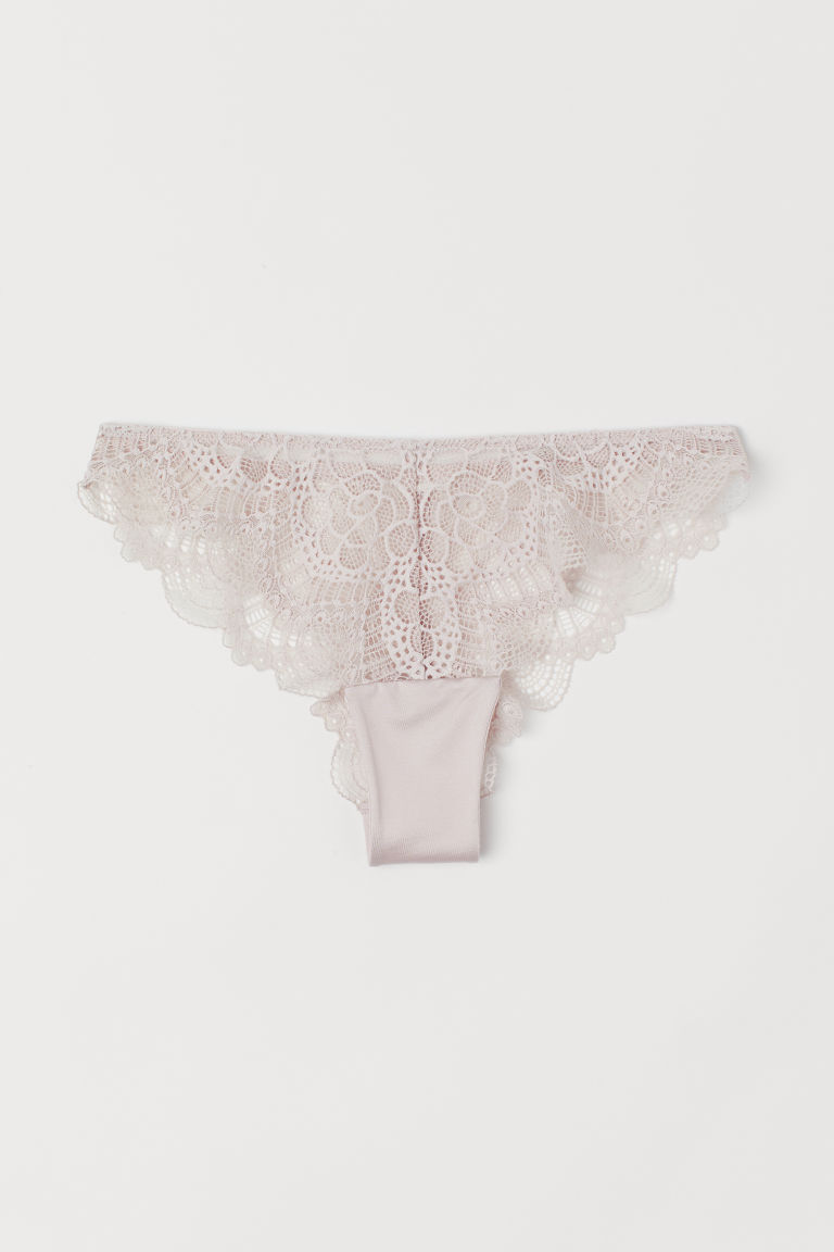 Lace Brazilian briefs - Powder pink - Ladies | H&M