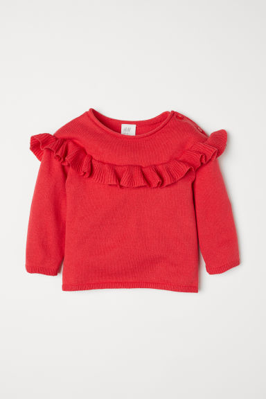 Fine-knit frilled jumper - Red - Kids | H&M