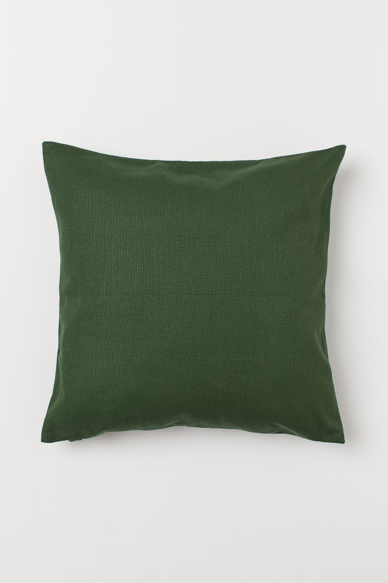 Cotton canvas cushion cover - Dark green - Home All | H&M CN