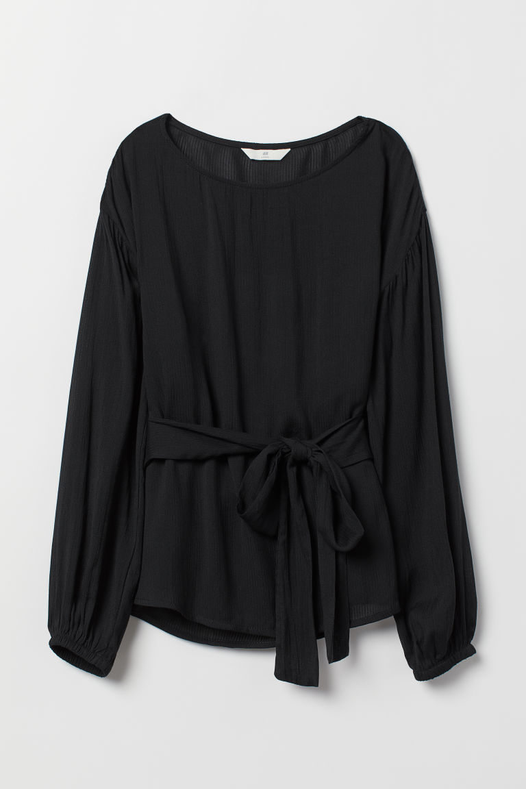 Bluse mit Bindegürtel - Schwarz - Ladies | H&M AT