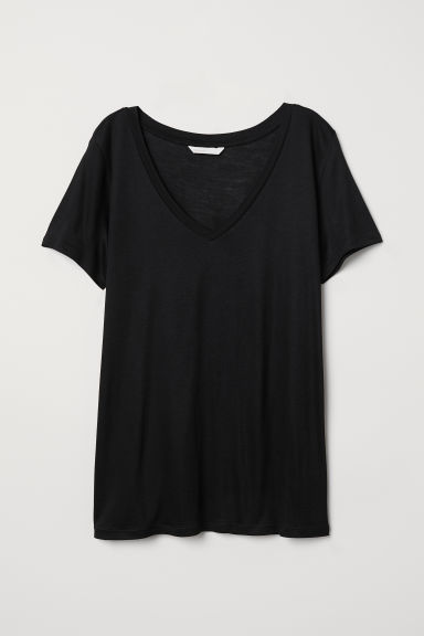 V-neck T-shirt - Black - Ladies | H&M CN
