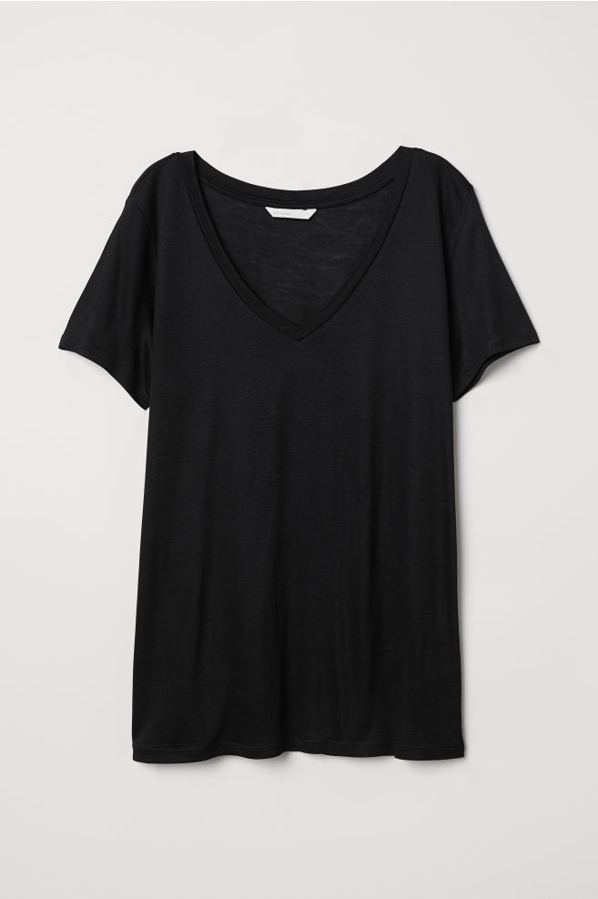 894124448 V-neck T-shirt - Black - Ladies | H&M ...