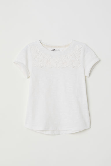 Short-sleeved top - White/Lace - Kids | H&M