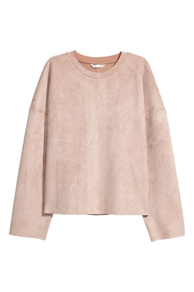 Imitation suede top - Light beige - Ladies | H&M