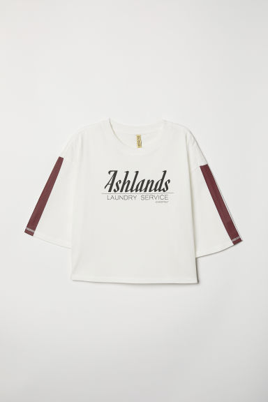 Wide printed T-shirt - White - Ladies | H&M