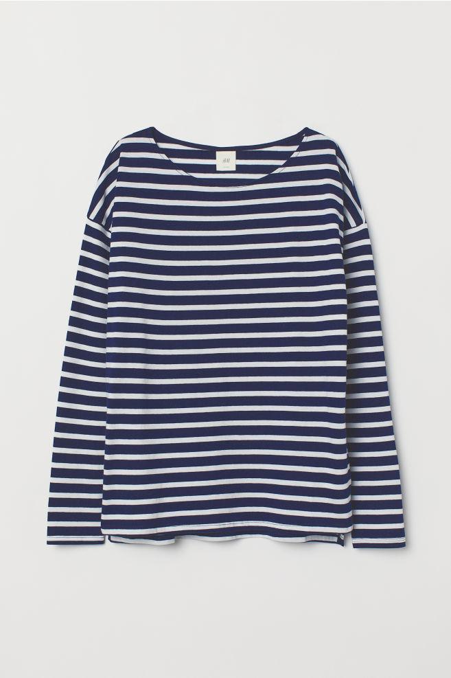 a6acacb63d Striped Top - Dark blue/white striped - Ladies   H&M ...