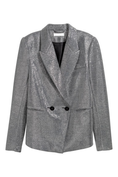 Glittery jacket - Silver-coloured/Glittery - Ladies | H&M CN