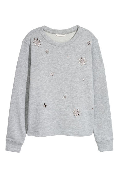 Sweatshirt with appliqués - Light grey/Sparkly stones - Ladies | H&M GB