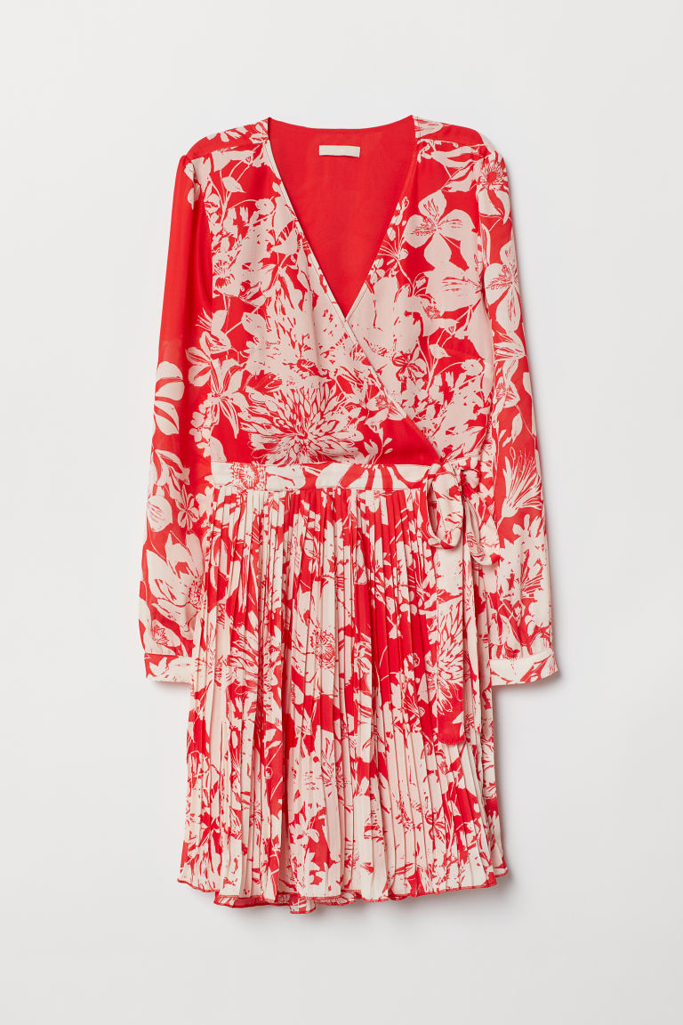 Patterned wrap dress - Red/Floral - Ladies | H&M CN