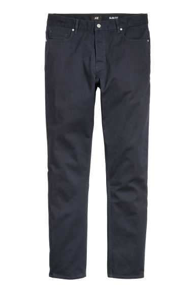 Twill trousers Slim fit - Dark blue - Men | H&M CN