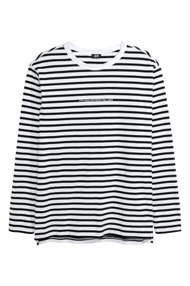 Long-sleeved T-shirt - White/Striped -  | H&M