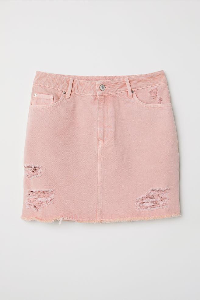 d15deace37 Denim skirt - Light pink - | H&M ...