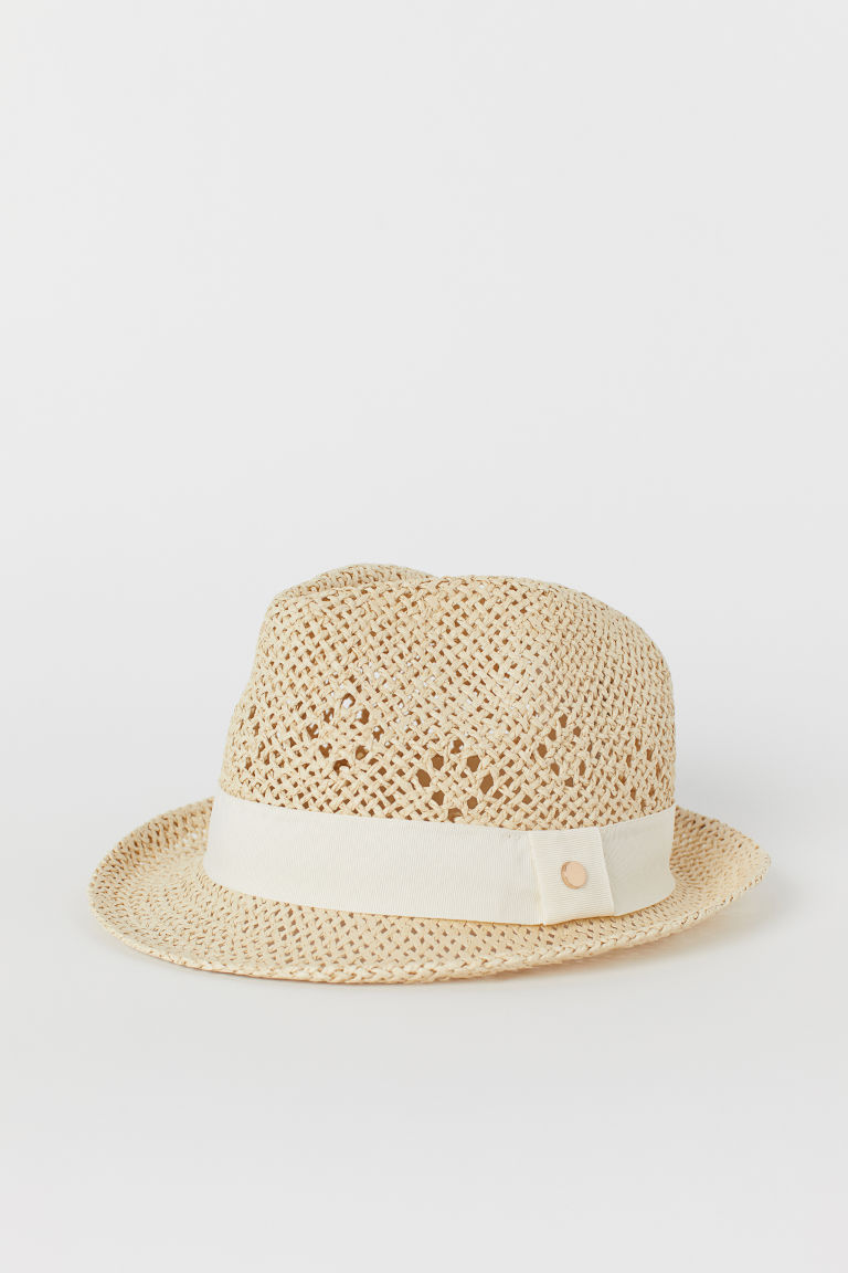 Straw hat - Natural/White - Ladies | H&M