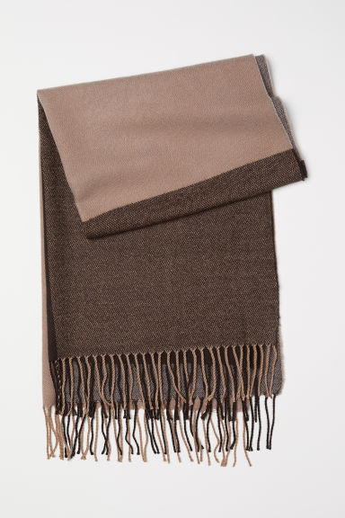 Jacquard-weave scarf - Dark brown/Brown - Ladies | H&M CN