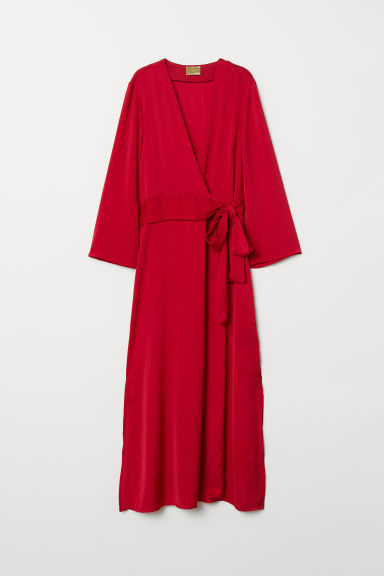 Long Satin Dress - Dark red - Ladies | H&M US