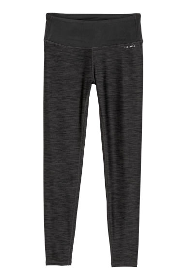 Yoga tights Shaping waist - Dark grey marl -  | H&M