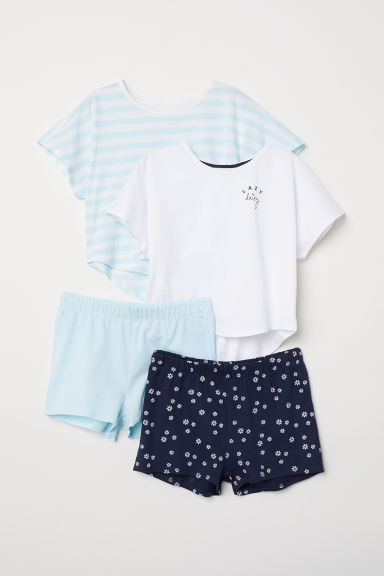 2-pack jersey pyjamas - Dark blue/Light blue - Kids | H&M