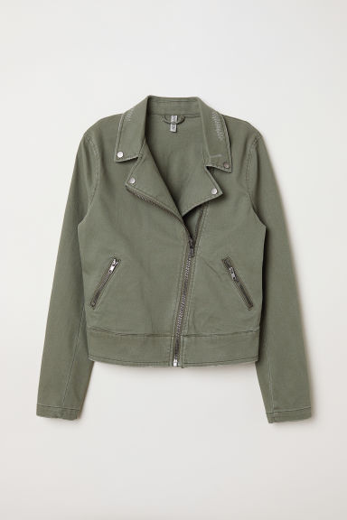 Twill Biker Jacket - Khaki green -  | H&M US