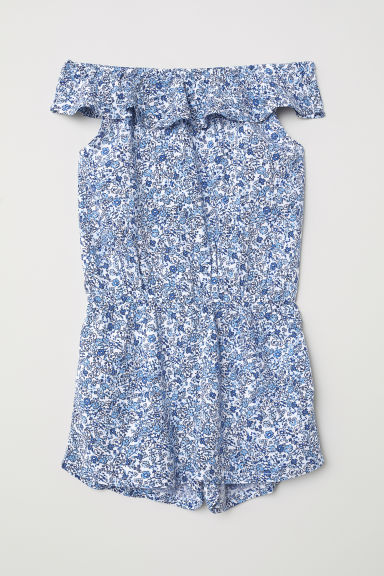 Patterned playsuit - White/Blue floral - Kids | H&M