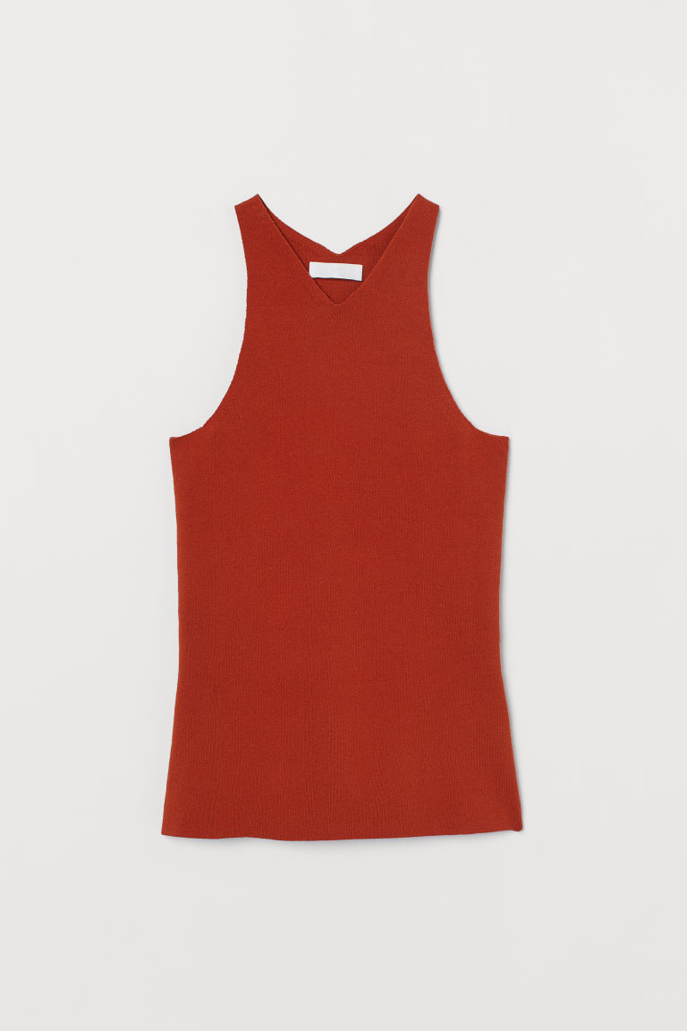 Fine-knit cotton top - Rust - Ladies | H&M