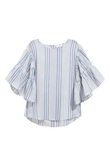 Blouse with flounced sleeves - Blue/White striped -  | H&M CN