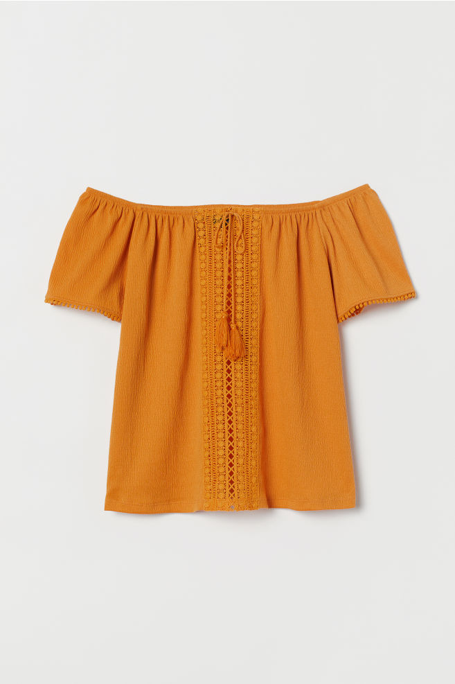 e51ac2d8383 ... Off-the-shoulder blouse - Mustard yellow - | H&M ...