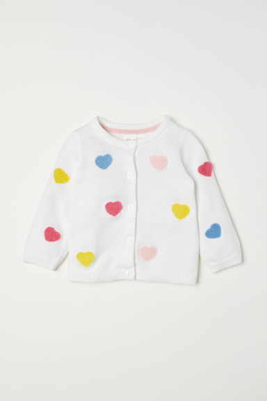 Fine-knit cardigan - White/Hearts - Kids | H&M