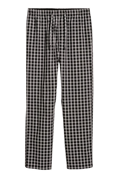Pyjama bottoms - Black/Grey checked - Men | H&M