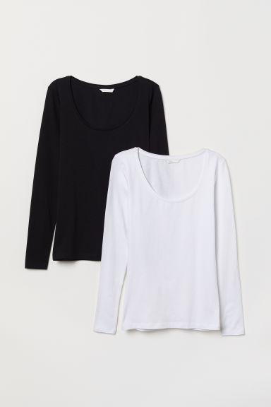 2-pack long-sleeved tops - Black/White - Ladies | H&M