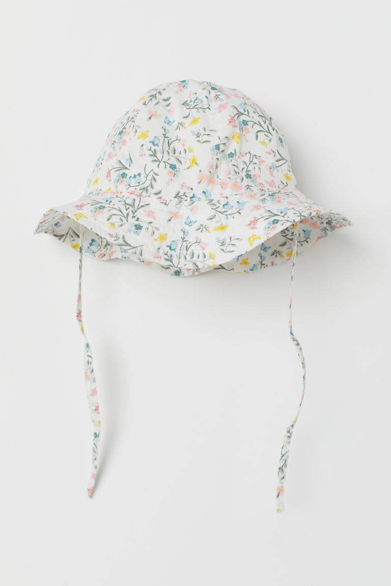 Sun hat with ties - White/Pink floral - Kids | H&M