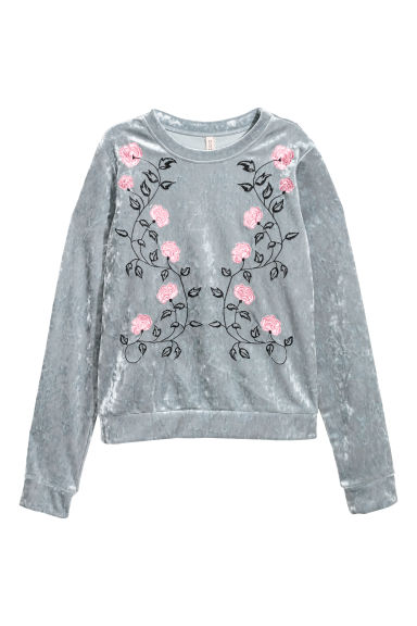 Embroidered velour top - Silver grey-coloured - Ladies | H&M IE