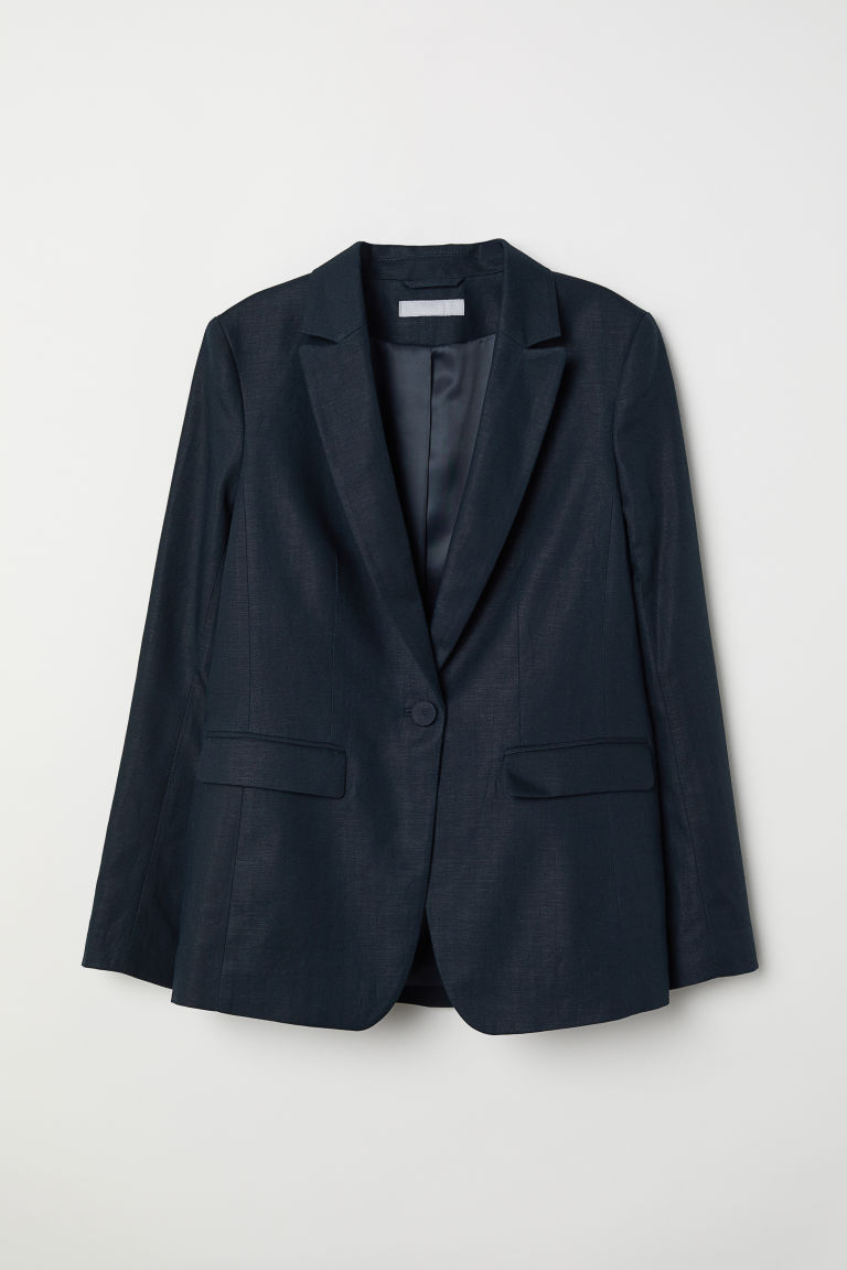 Linen-blend jacket - Dark blue - Ladies | H&M