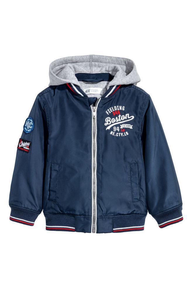 497aa28c Vattert jakke med hette - Mørk blå - BARN | H&M ...