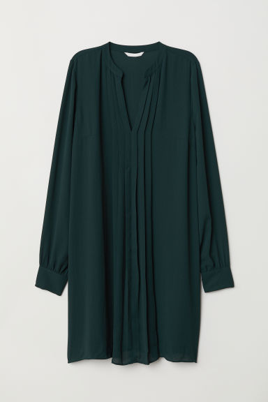 Pleated dress - Dark green -  | H&M