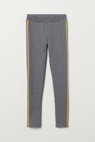 Leggings in sturdy jersey - Grey marl/Multicoloured - Kids | H&M
