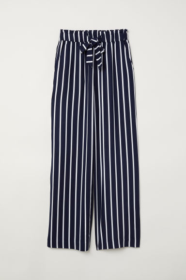 Paper bag trousers - Dark blue/White striped - Ladies | H&M