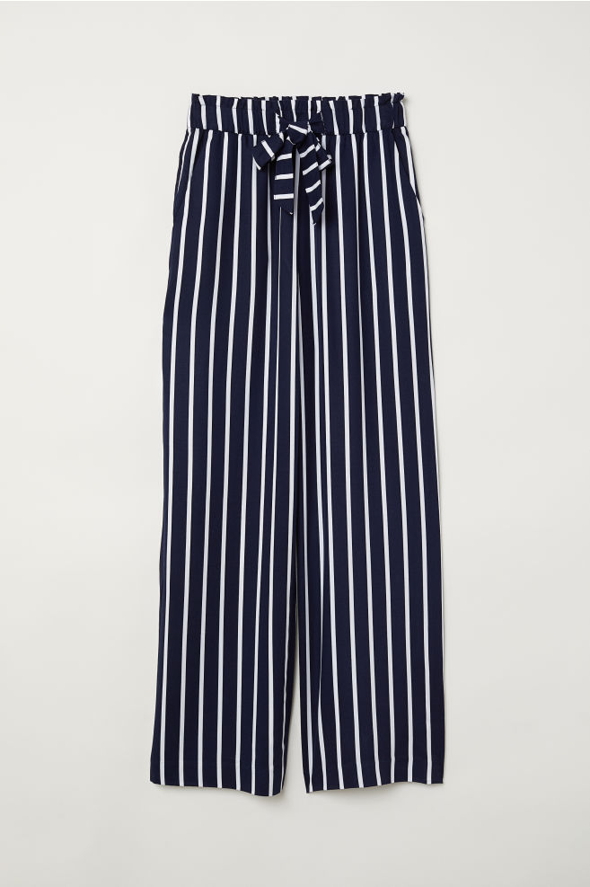 4f9073b86069b Paper bag trousers - Dark blue/White striped - Ladies   H&M ...