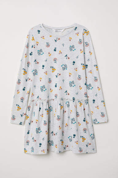 Printed jersey dress - Light grey marl/Floral - Kids | H&M CN