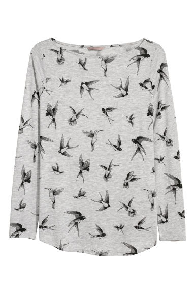 H&M+ Long-sleeved top - Light grey/Swallows - Ladies | H&M IE