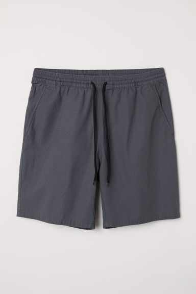 Textured-weave cotton shorts - Dark grey -  | H&M