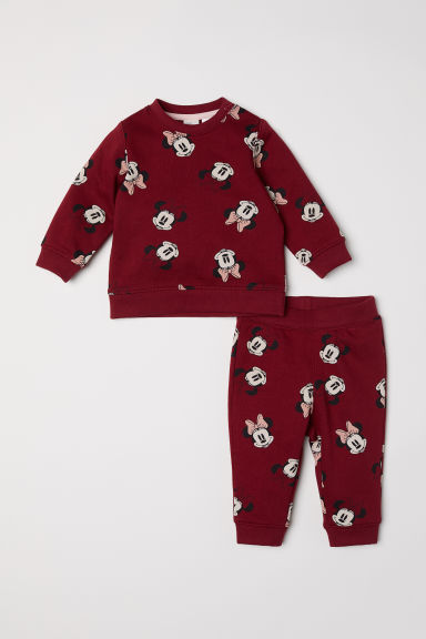 Sweatshirt and trousers - Dark red/Minnie Mouse - Kids | H&M