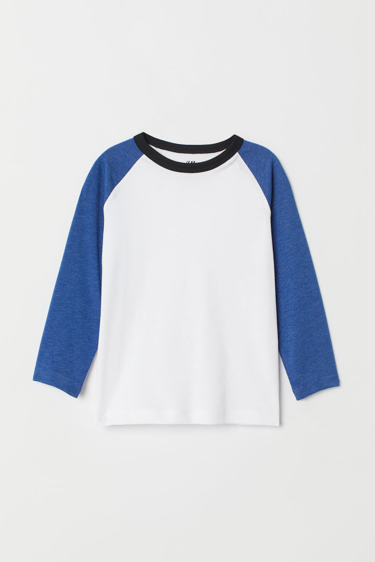 Jersey top - White/Light blue - Kids | H&M CN