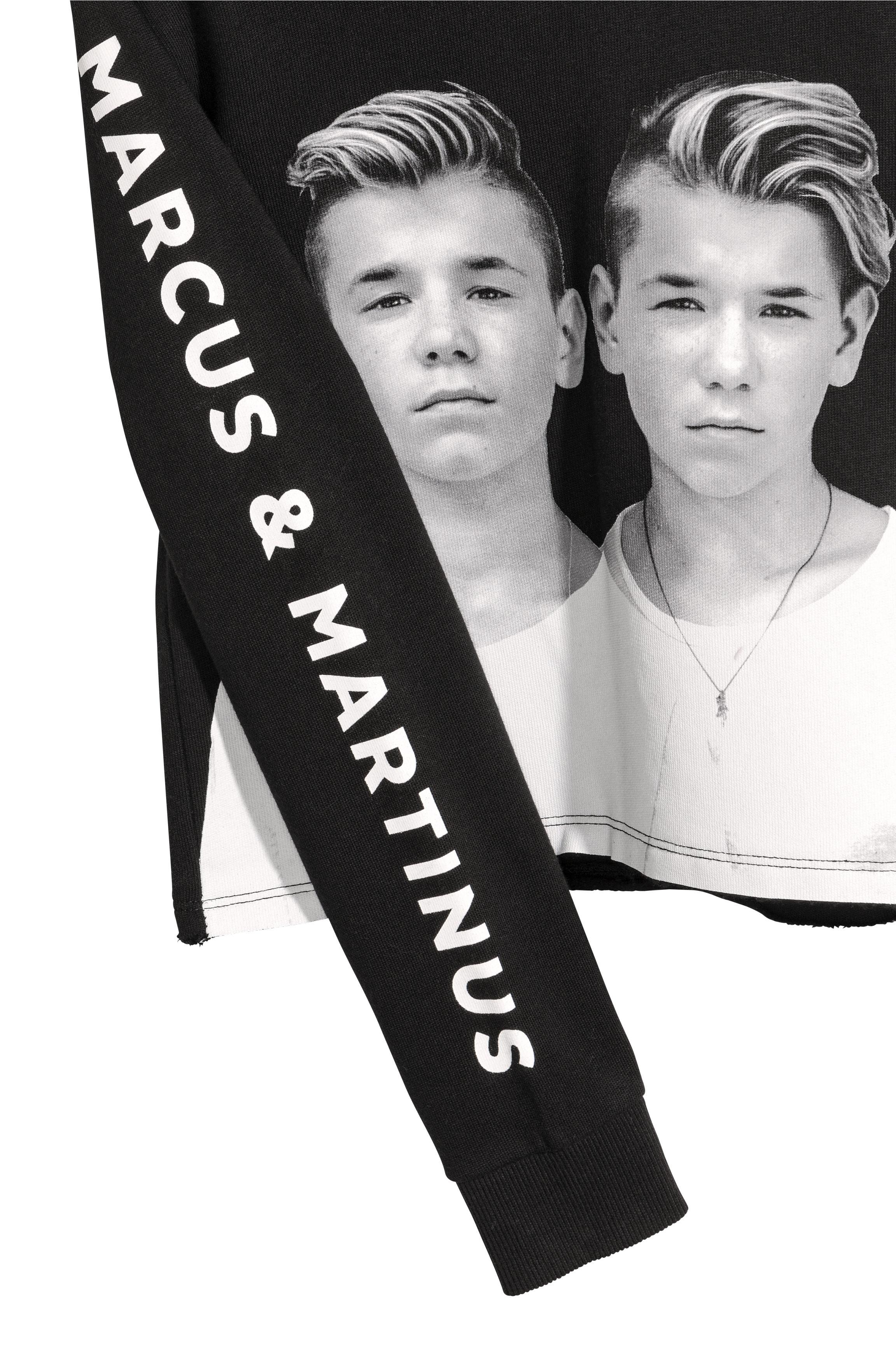 6cd1c3eb956 Printed crop top with a hood - Black/Marcus & Martinus - Kids | H&M GB