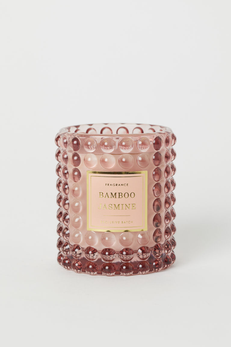 Scented candle in glass holder - Pink/Bamboo Jasmine - Home All | H&M GB