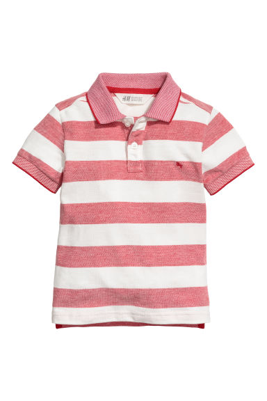 Polo shirt - Red/White striped -  | H&M CN