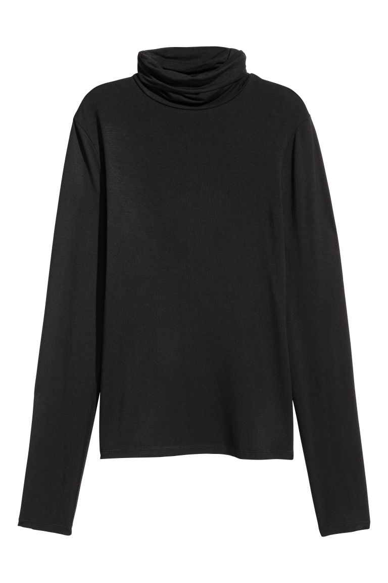 Jersey polo-neck top - Black - Ladies | H&M GB