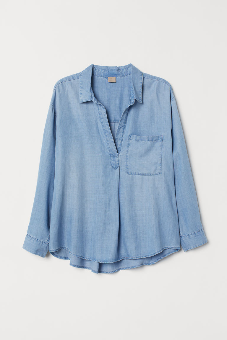 H&M Lyocell Shirt - Light blue - Ladies | H&M US